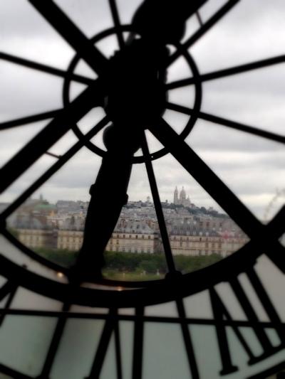 A clock on the top floor of the museum overlooking Paris