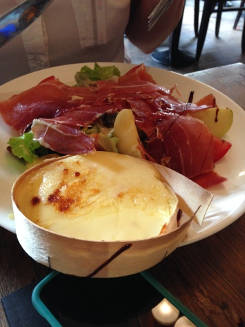 Josette's salad with Jambon (ham) and a big crock of baked camembert