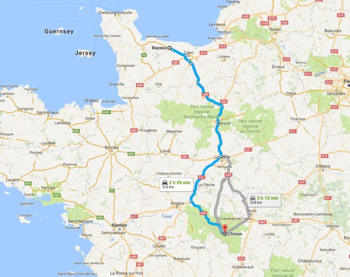 bayeux to chinon